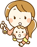 赤ちゃんにご飯をあげる女性